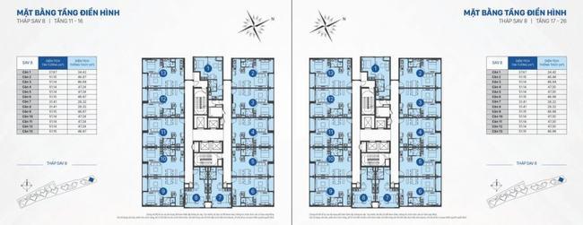 mặt bằng officetel sav8 tầng 11 đến 26