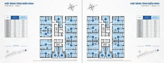 mặt bằng officetel sav 8 tầng 5 đến 10