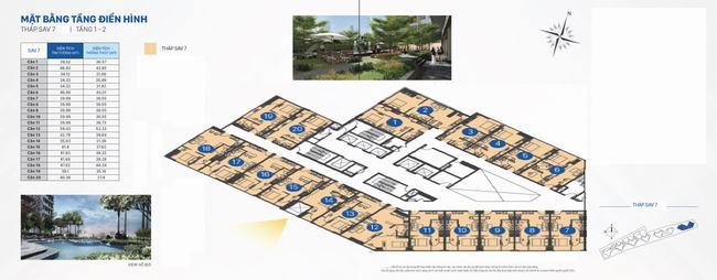 Mặt bằng The Sun Avenue Tháp 7 - Officetel tầng 1 - 2