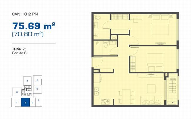 Mặt bằng The Sun Avenue tháp 7 căn hộ 2 phòng ngủ 75.69m2