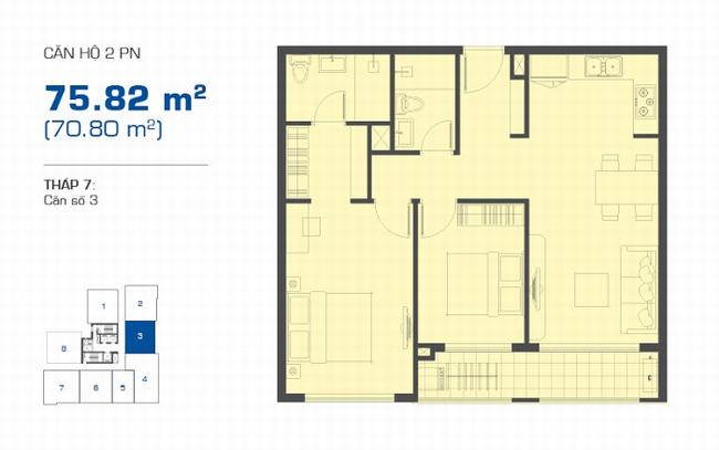 Mặt bằng The Sun Avenue tháp 7 căn hộ 2 phòng ngủ 75.82m2