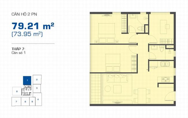 Mặt bằng The Sun Avenue tháp 7 căn hộ 2 phòng ngủ 79.21m2 - Vị trí số 1