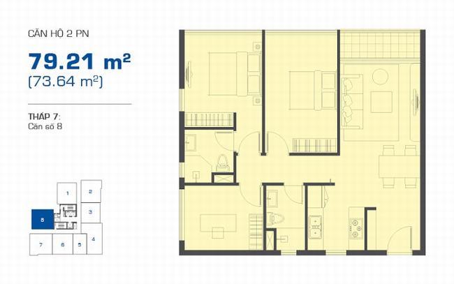 Mặt bằng The Sun Avenue tháp 7 căn hộ 2 phòng ngủ 79.21m2 - Vị trí số 8