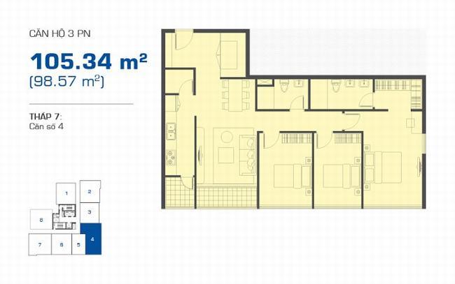 Mặt bằng The Sun Avenue tháp 7 căn hộ 3 phòng ngủ 105.34m2