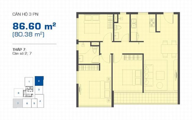 Mặt bằng The Sun Avenue tháp 7 căn hộ 3 phòng ngủ 86.60m2
