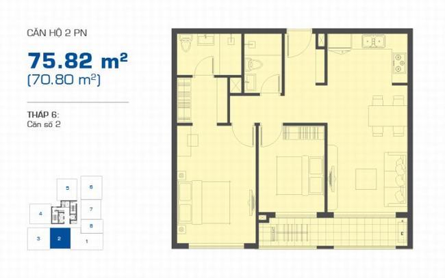 Mặt bằng The Sun Avenue tháp 6 căn hộ 2 phòng ngủ 75.82m2