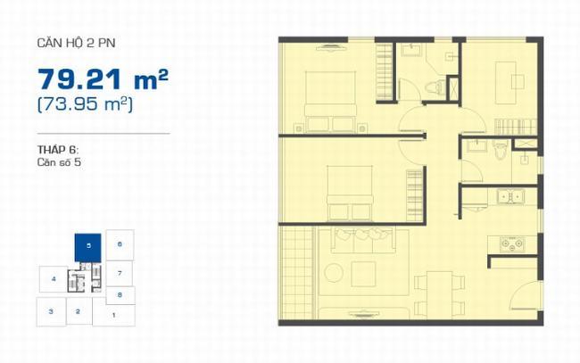 Mặt bằng The Sun Avenue tháp 6 căn hộ 2 phòng ngủ 79.21m2 - Vị trí số 5