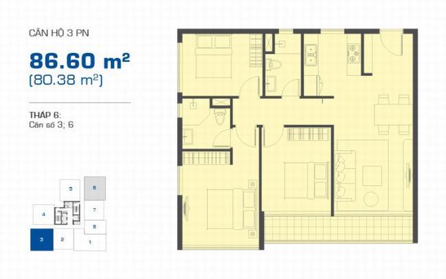 Mặt bằng The Sun Avenue tháp 6 căn hộ 3 phòng ngủ 86.60m2