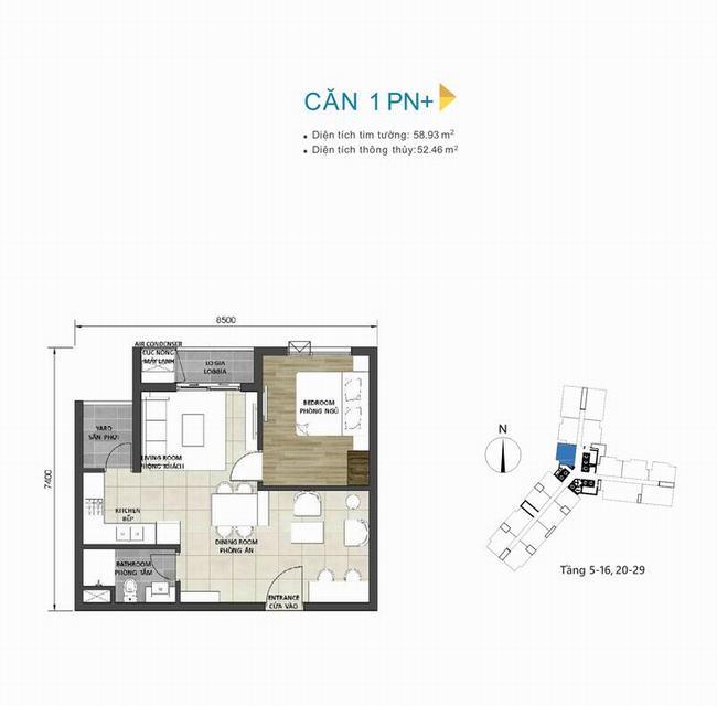 Mặt bằng căn hộ 1+1 phòng ngủ 58,93m2 dự án D-Homme Quận 6