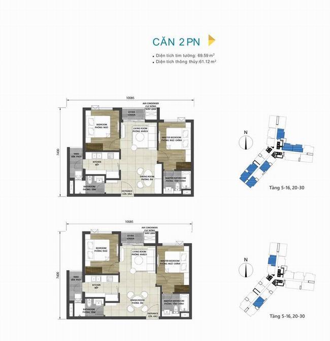 Mặt bằng căn hộ 2 phòng ngủ 69,59m2 dự án D-Homme Quận 6