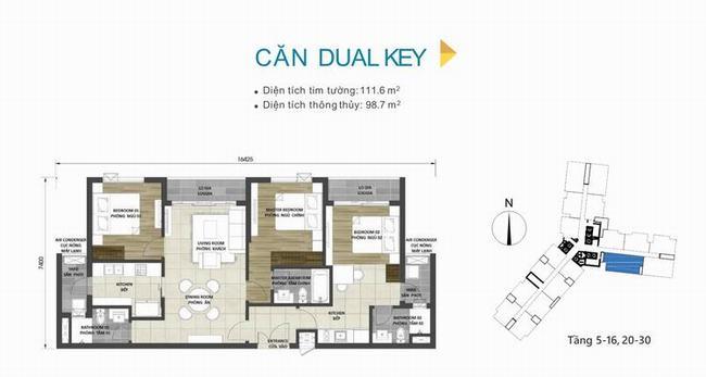 Mặt bằng thiết kế căn hộ Dual Key 111,6m2 dự án D-Homme Quận 6