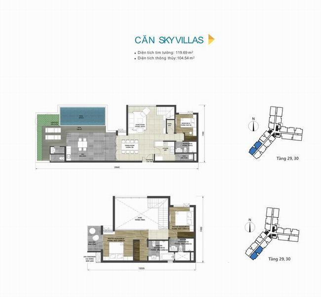 Mặt bằng thiết kế căn hộ Sky Villas 119,69m2 dự án D-Homme Quận 6