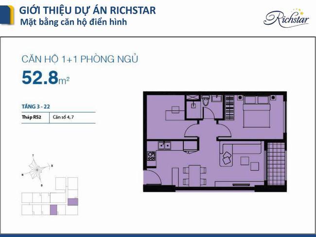Mặt bằng Richstar - Căn hộ 1 phòng ngủ 53m2